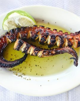 octopus on plate at a greek tavern